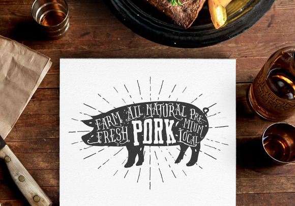 Vintage Premium Pork Label