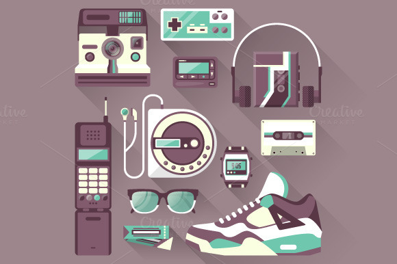 Retro Gadgets Devices Icons
