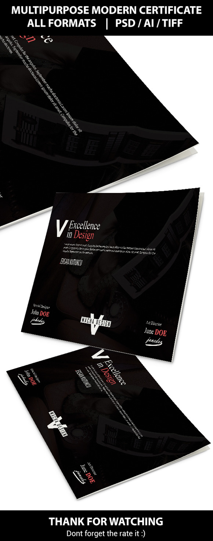 Dark Multipurpose Modern Certificate