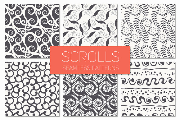 Scrolls Seamless Patterns Set