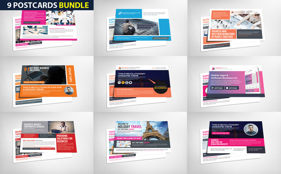 9 Corporate Business Postcard Bundle