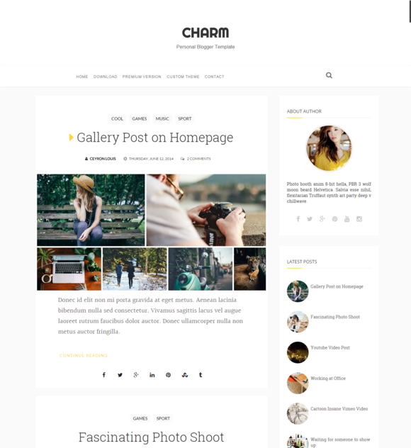 Charm Nice Personal Blogger Template