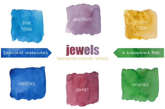 Jewel Tone Watercolor Textures