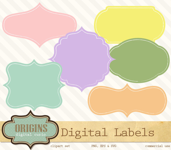 Fancy Digital Labels Clipart