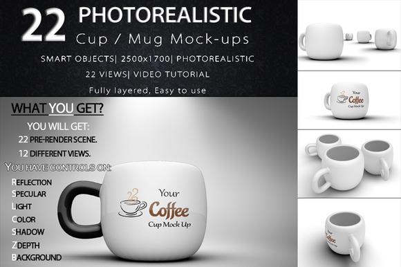 22 Cup Mug Mock-ups