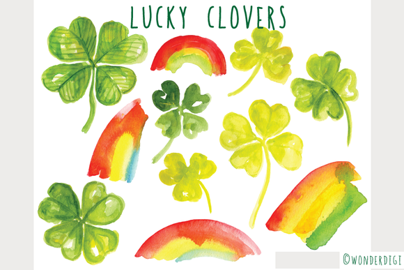 Watercolor Lucky Clovers