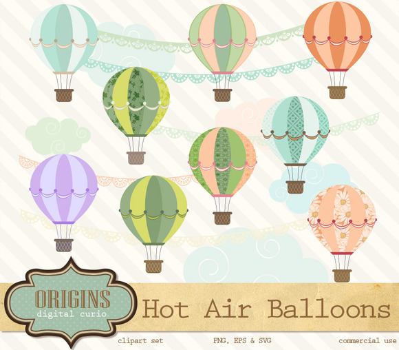Hot Air Balloons Vector Clipart
