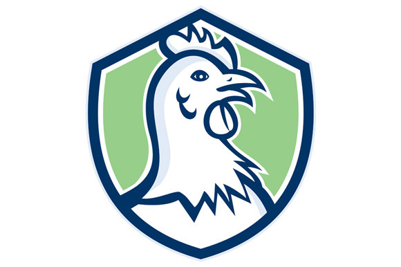 Chicken Hen Head Side Shield Cartoon