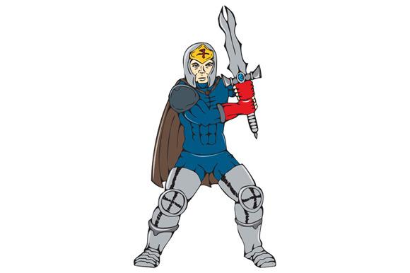 Knight Wielding Sword Front Cartoon
