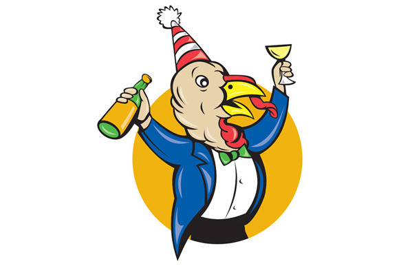 Turkey Celebrating Wine Party Hat Ca