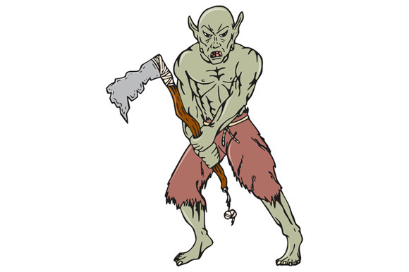 Orc Warrior Wielding Tomahawk Cartoo