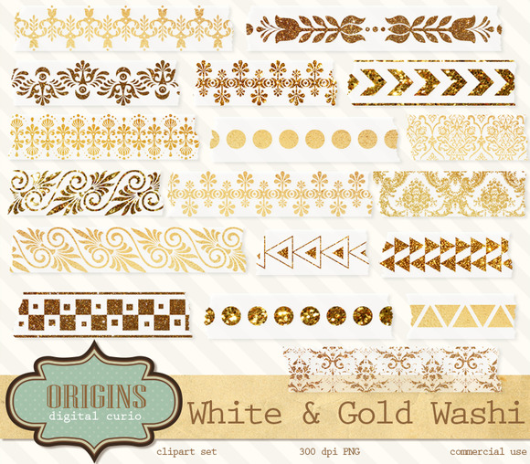 White And Gold Digital Washi Clipart
