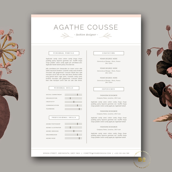 Feminine Resume Template For Word