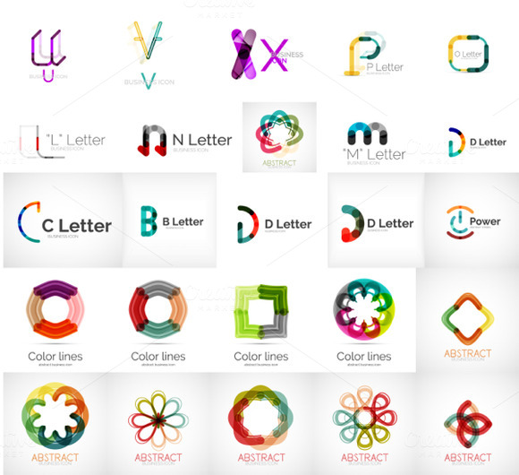 Letters And Circle Logos Set