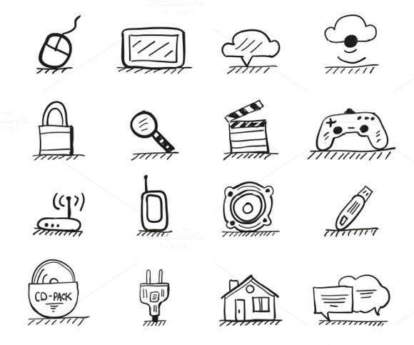 16 Hand-drawn Web Icons