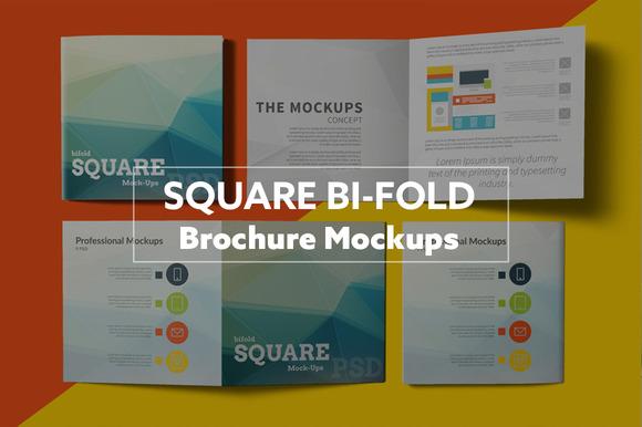 Square Bi-Fold Brochure Mockups