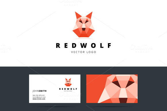Polygonal Logo With Wolf Sign