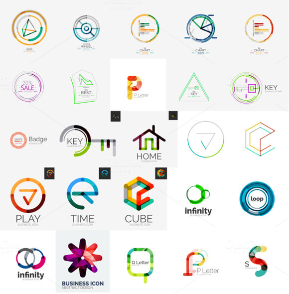 Geometrical Line Logos