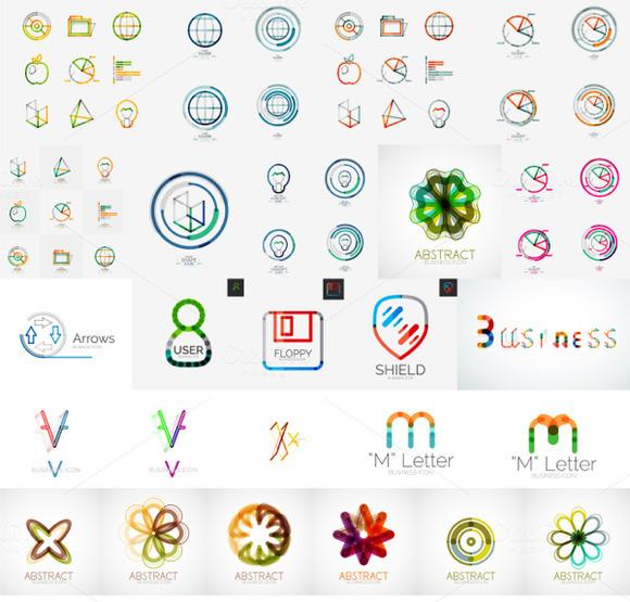 Geometric Business Icons Set