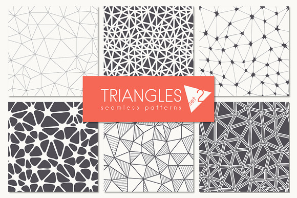 Triangles Seamless Patterns Set 2