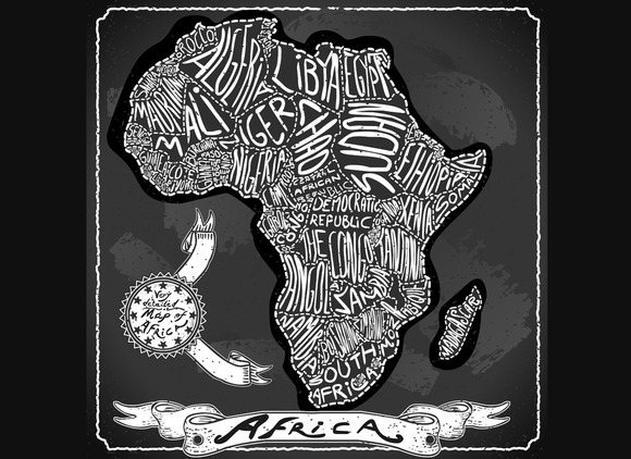 Africa Map On Vintage Blackboard