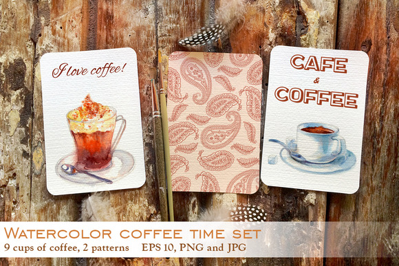 Watercolor Coffee Time Set