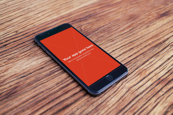 IPhone 6 Plus Mockup On Wood Table
