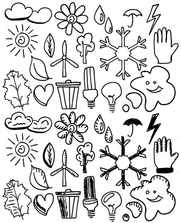 Black Nature Doodles