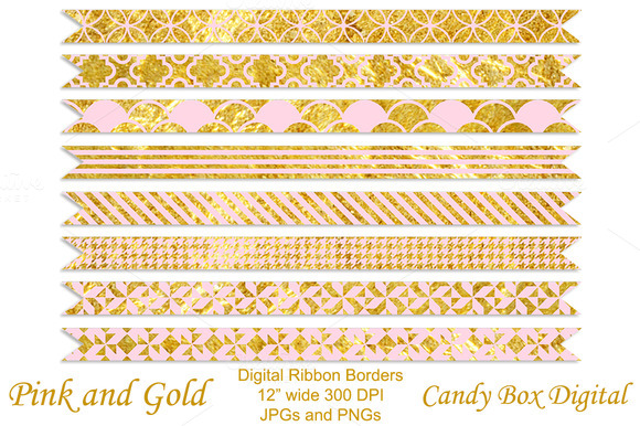 Trendy Pink And Gold Ribbons