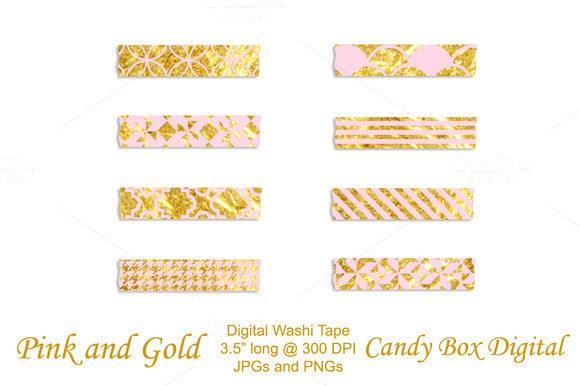 Trendy Pink And Gold Washi Tape