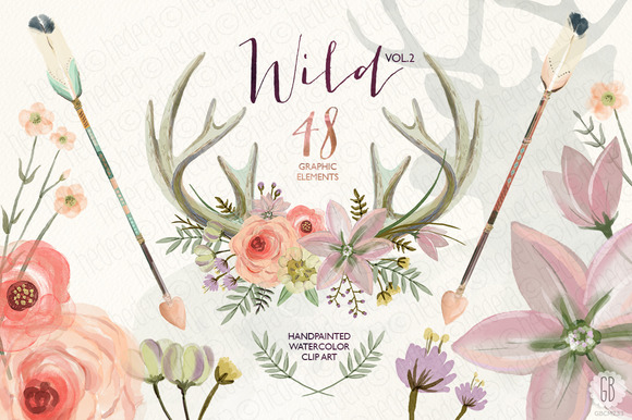 Watercolor Antlers Floral Wild Vol.2