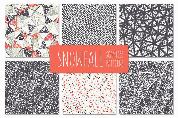 Snowfall Seamless Patterns Set
