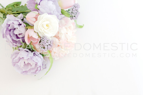 Styled Photo Pastel Flowers Mockup
