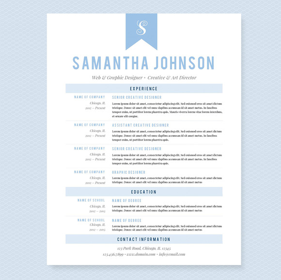 Baby Blue Resume Template Package