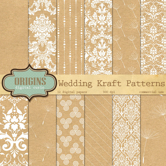 Kraft Wedding Digital Paper