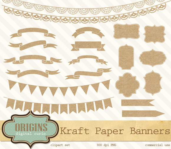 Kraft Paper Banners Labels Clipart