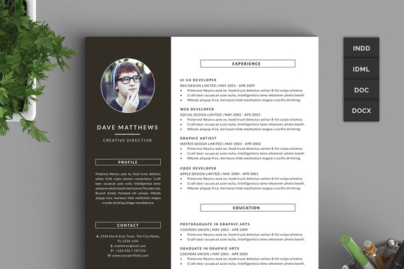 Hipster Resume CV With Cover Letter