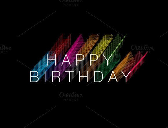Colorful Shadow Birthday Greeting
