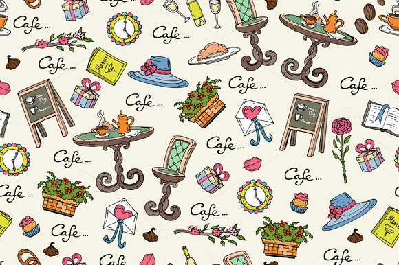 Pattern On The Theme Of Cafe