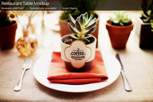 Restaurant Coffee Table Mockup