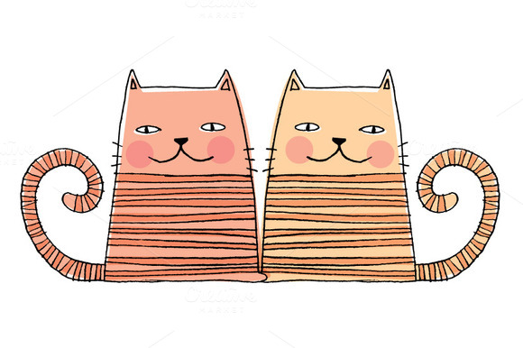 Kitty Cats In Love Vector