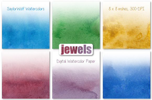 Jewel Tone Watercolor Ombre Paper