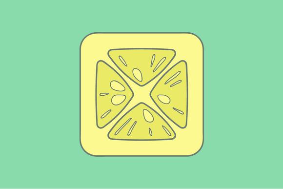 Lemon Flat Icon On Color Background
