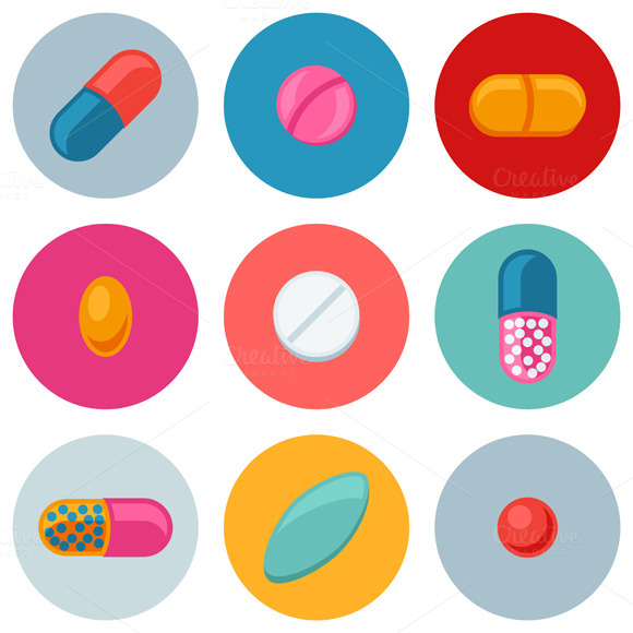 Set Of Pills And Capsules Icons