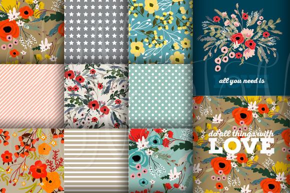 12 Floral Digital Patterned Paper