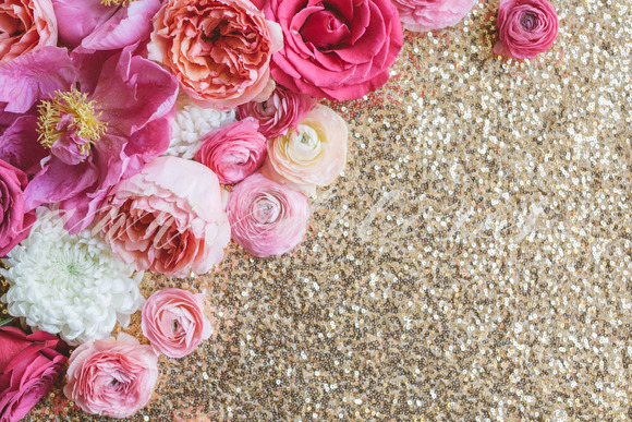 Styled Stock Photo Flowers Sequins
