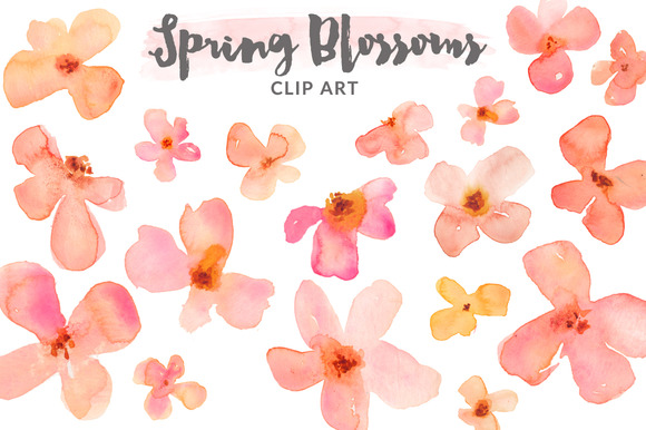 Watercolor Clipart Spring Blossoms