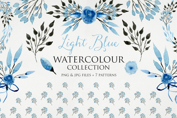 Light Blue Watercolour Elements