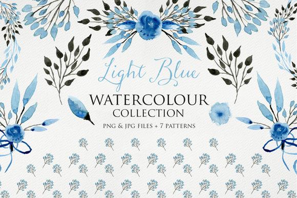 Light Blue Watercolour Elements