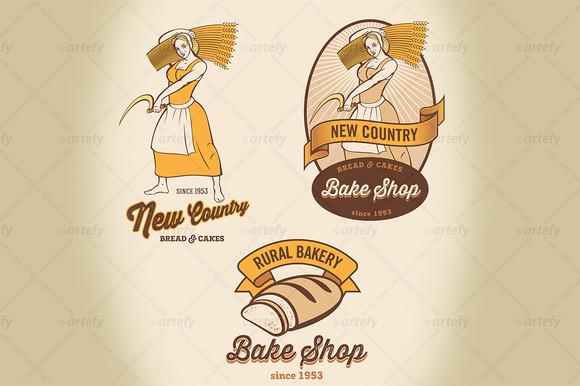 Set Of Rural Bakery Labels